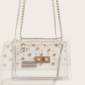 Clear small purse with pearl accents